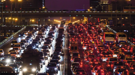 Traffic congestion in the Chinese capital Beijing, home to almost 22 million people