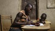 Teacher and child, Rwanda