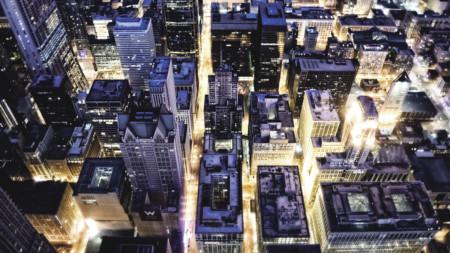 Aeriel view city lights