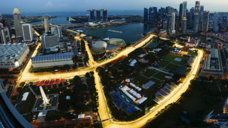 Marina Bay Circuit, Marina Bay, Singapore. Thursday 14 September 2017. An aerial view of the Marina Bay Circuit as final preparations are made.