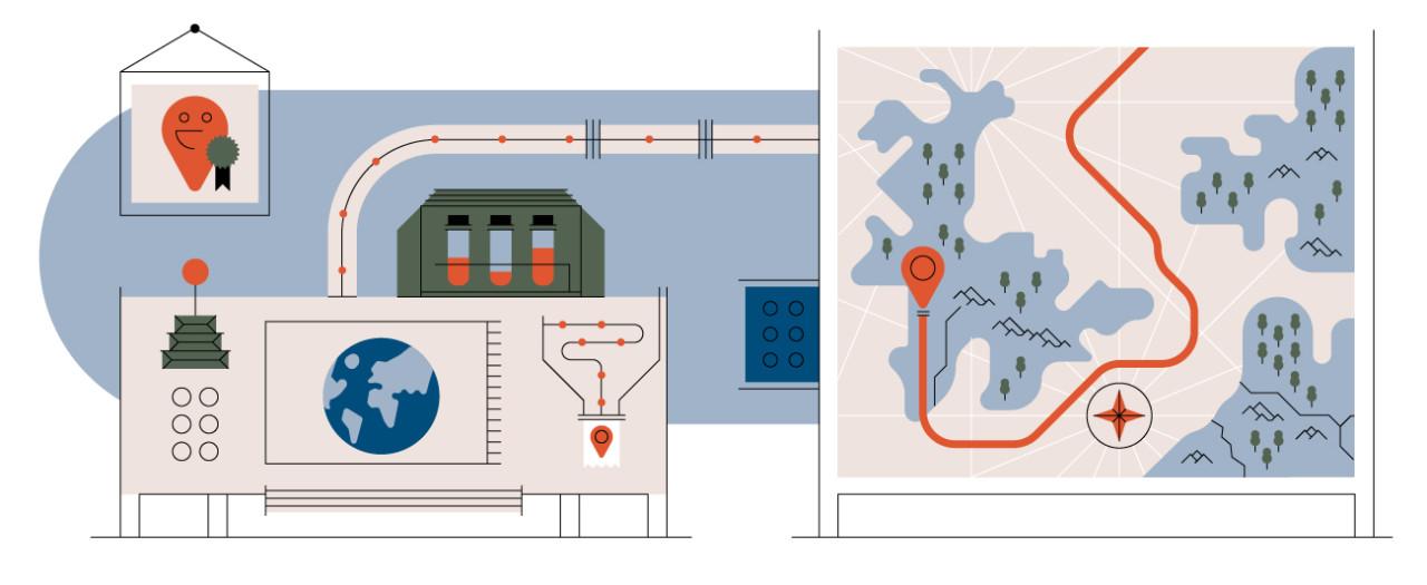 Digital mapping illustration