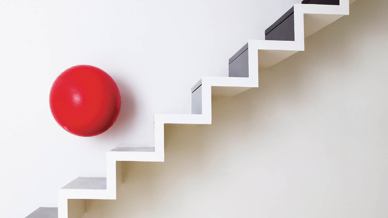 Ball bouncing down stairs