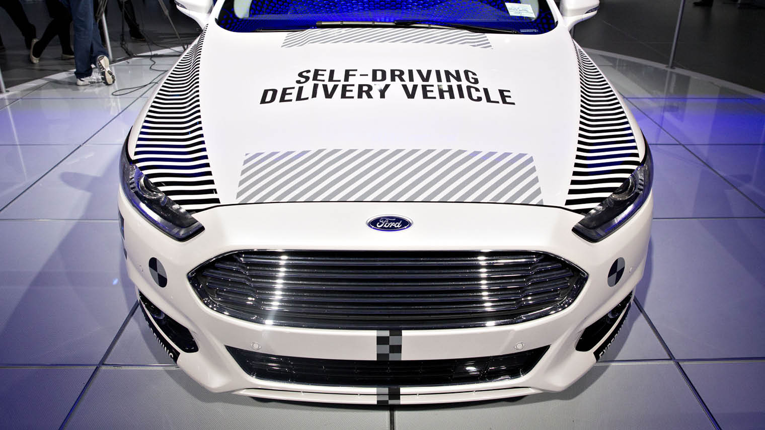 Ford Fusion self-driving car on display at this year's Detroit North American International Auto Show