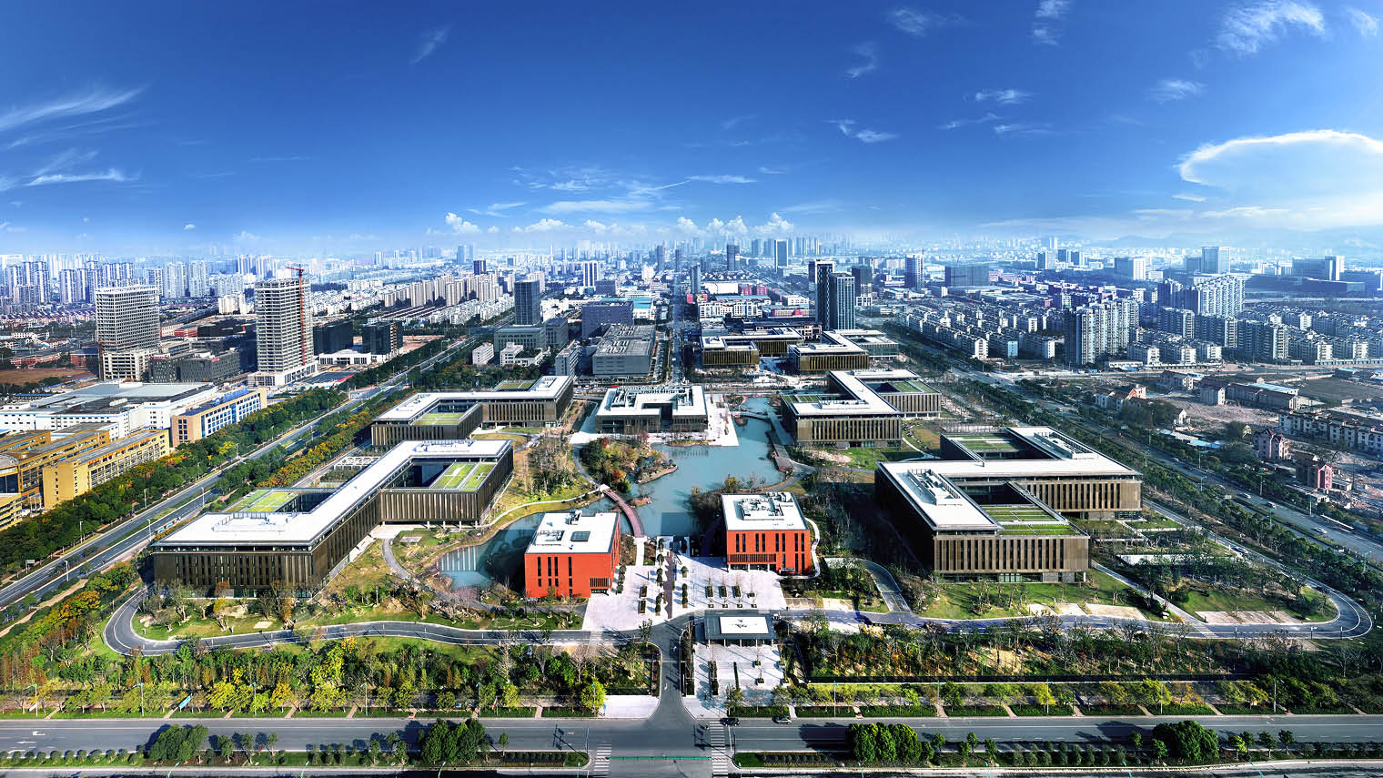 Huawei's research centre in Hangzhou aerial view