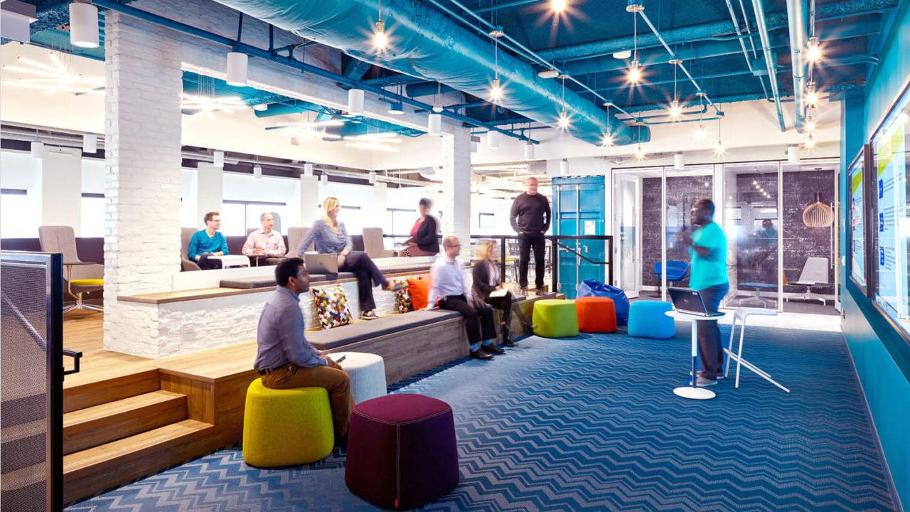 People at meeting in coworking space