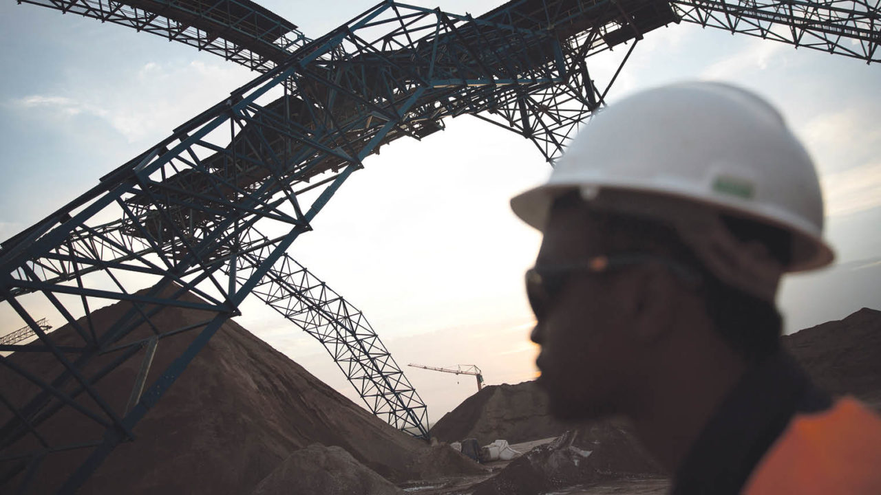 Conveyor belt moving rock ore in the production plant at Randgold Resources' LouloGounkoto complex in Mali