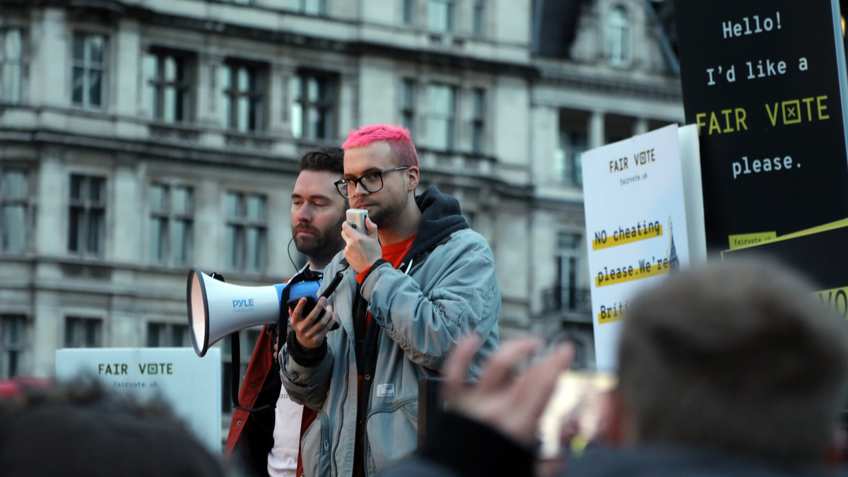 Brexit campaign whistle-blower Christopher Wylie speaking at the Fair Vote rally outside the House of Commons on Parliament Square, central London.