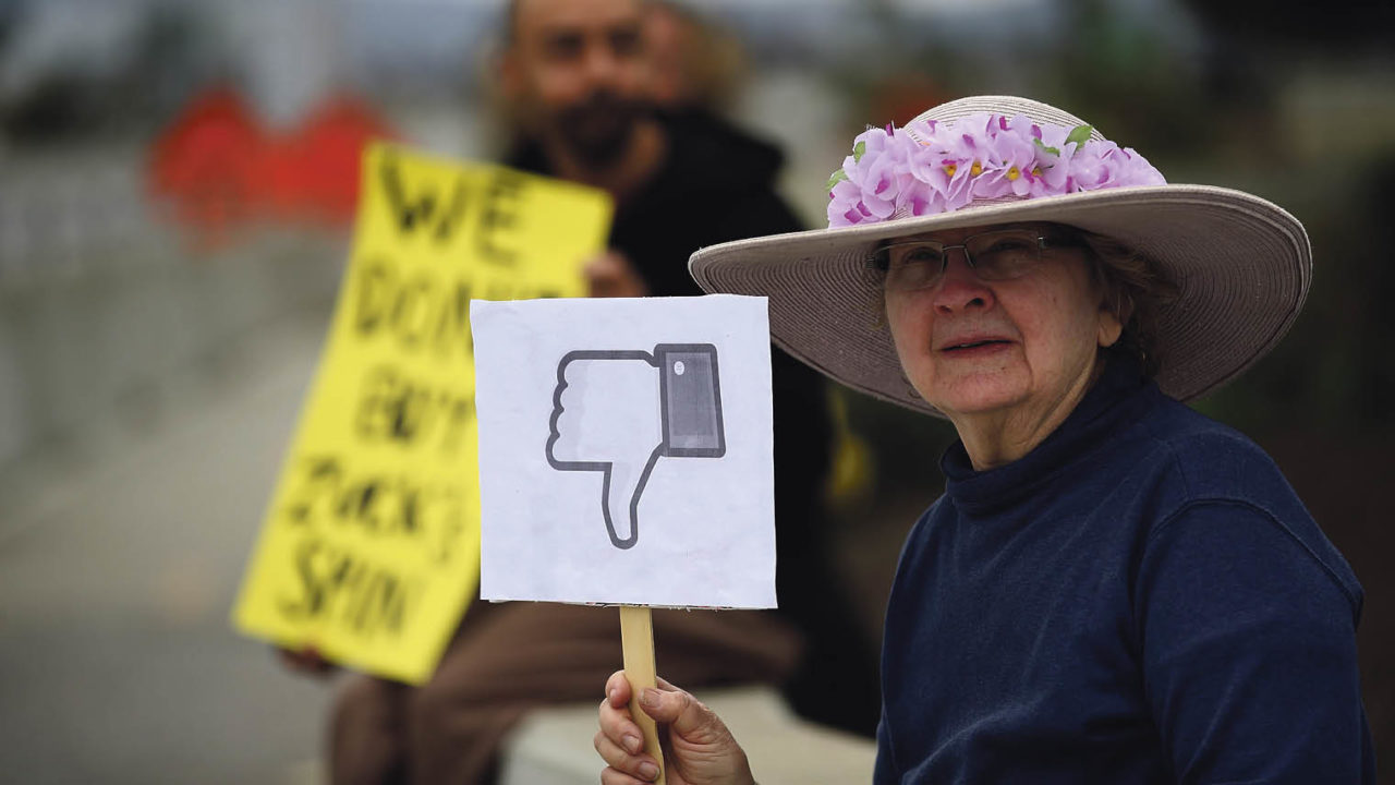 old lady in hat holding placard with a thumbs down Facebook icon