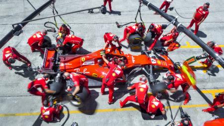 Ferrari pit stop aerial view