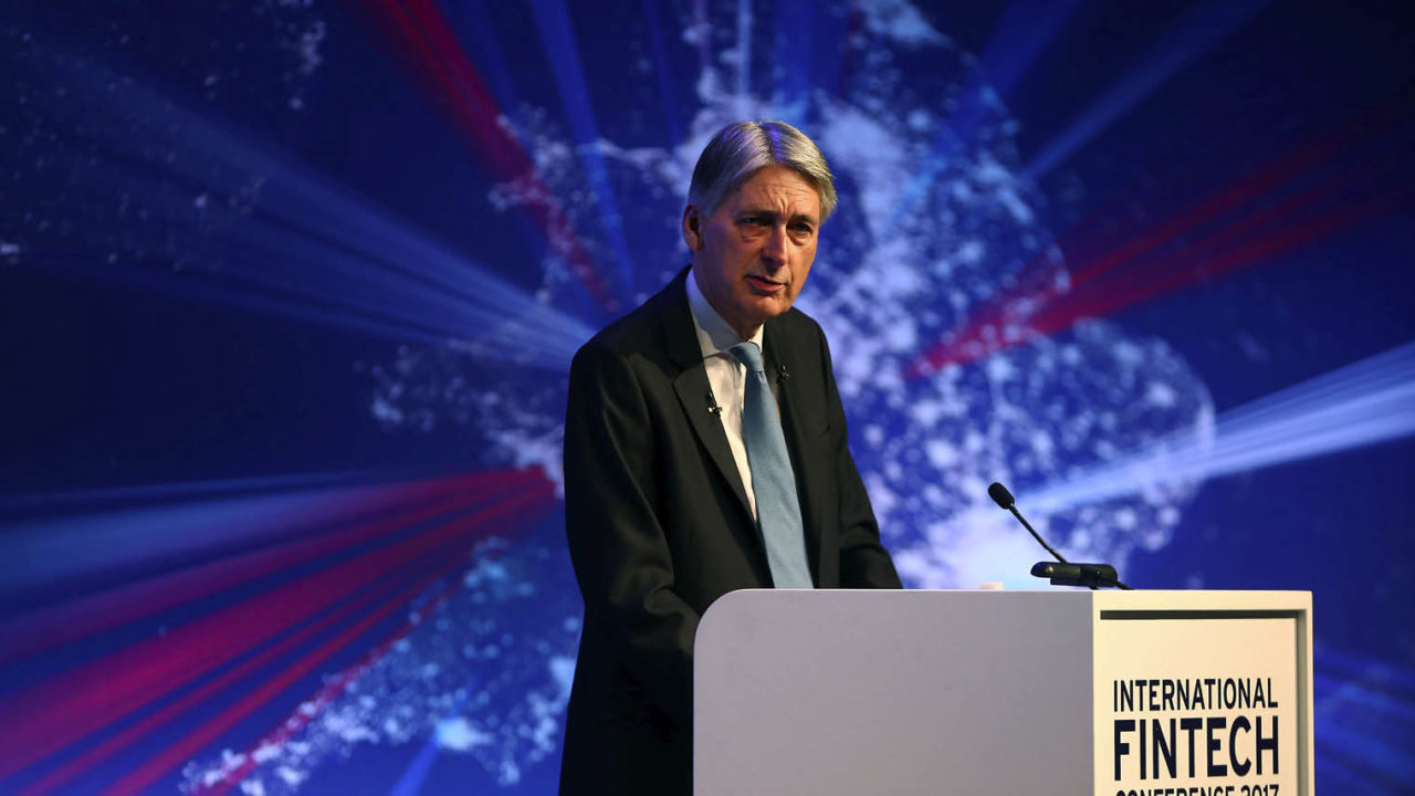 Philip Hammond speaking International Fintech at conference