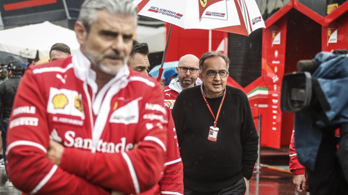 Sergio Marchionne, Ferrari president with Maurizio Arrivabene, team manager Ferrari at F1 Grand Prix of Italy