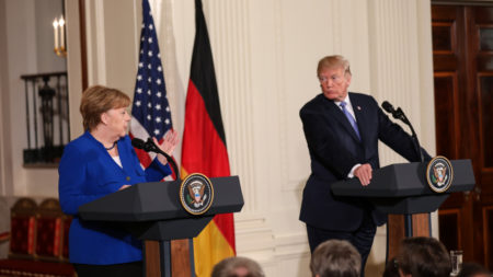 Trump and Merkel at joint press conference