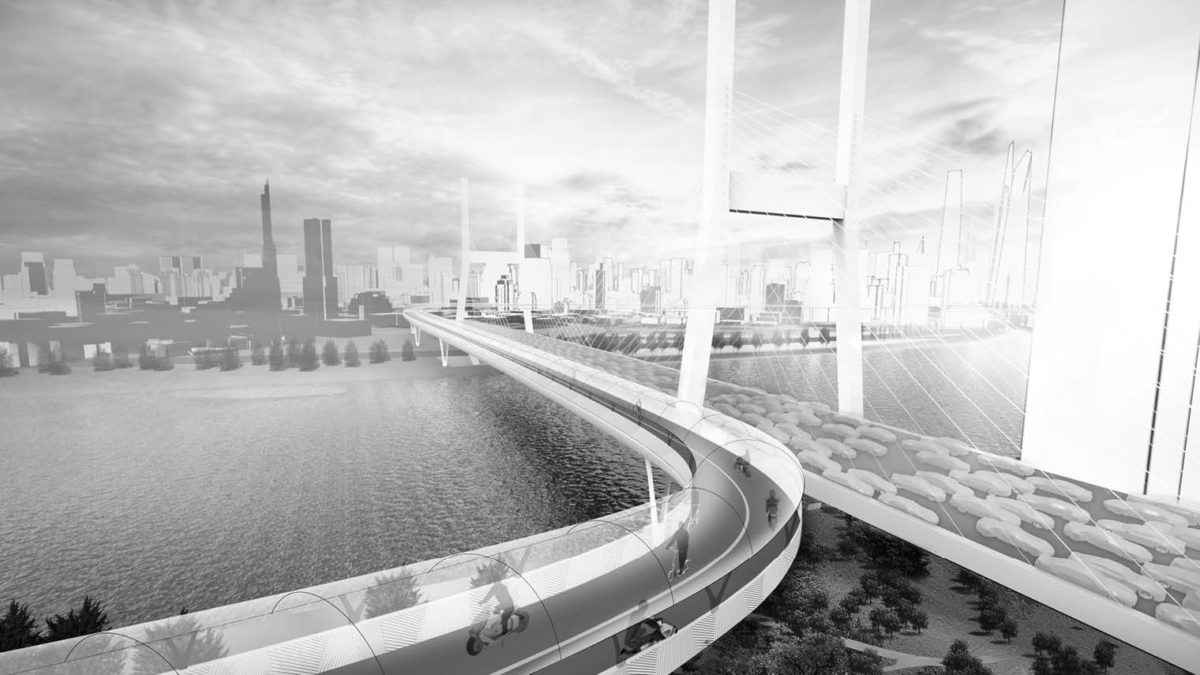 Future modes of transport: elevated cycle path illustration over river in city