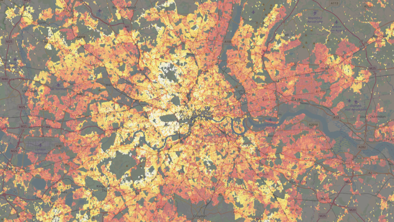 red white orange geospatial heatmap map of London housing