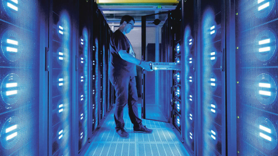 man in server room