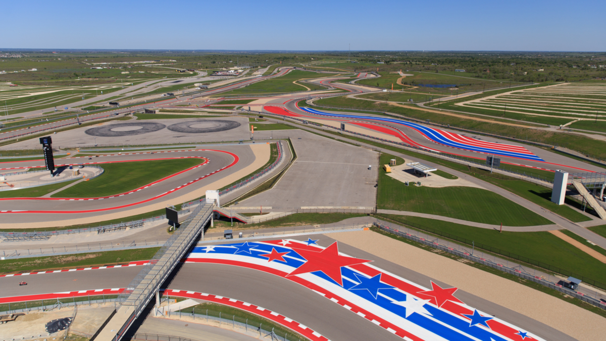The race track at Circuit of The Americas in Austin, Texas
