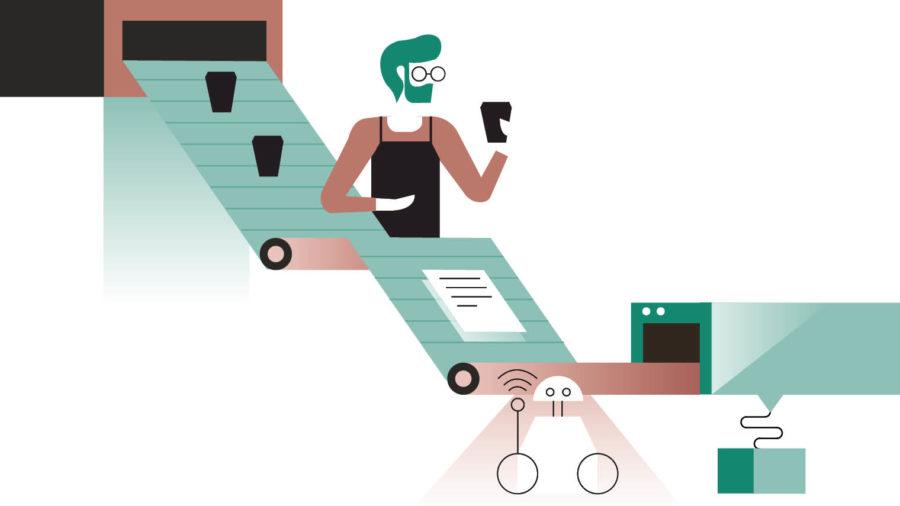 procurement technology graphic coffee conveyor belt
