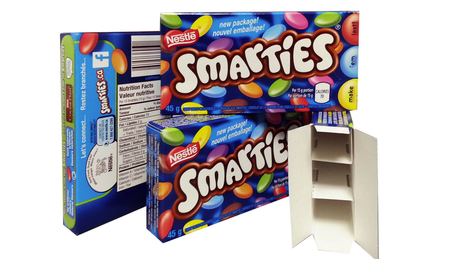 smarties innovative packaging design with compartments