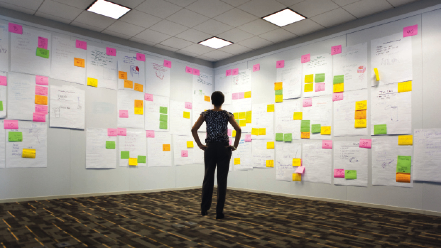 Member of C-Suite looking at wall full of post-its