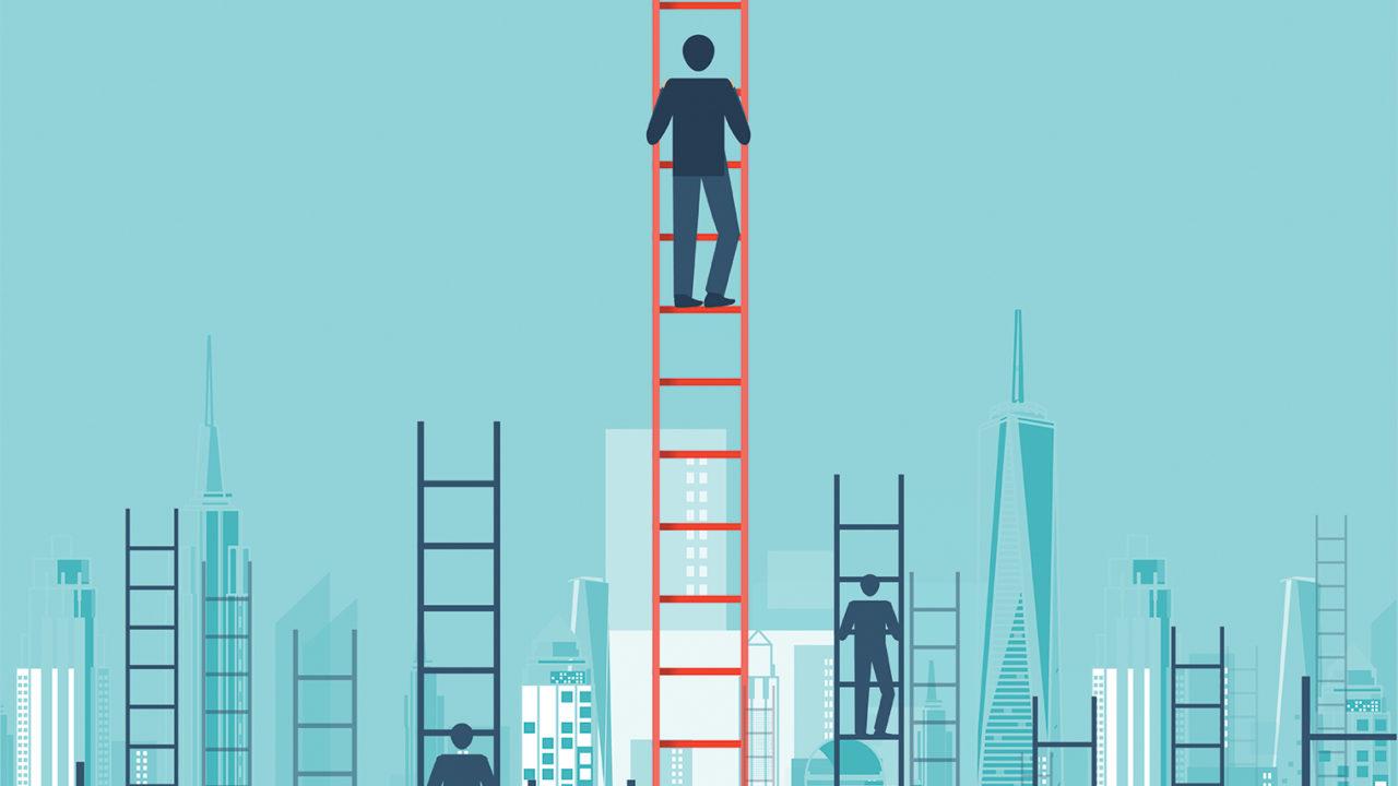 C-Suite members climbing ladders