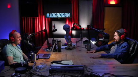 joe rogan recording his podcast in studio