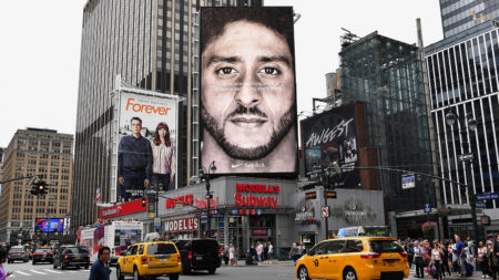 billboard with Colin Kaepernick on it