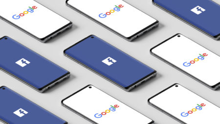 phones with Google and Facebook on screen