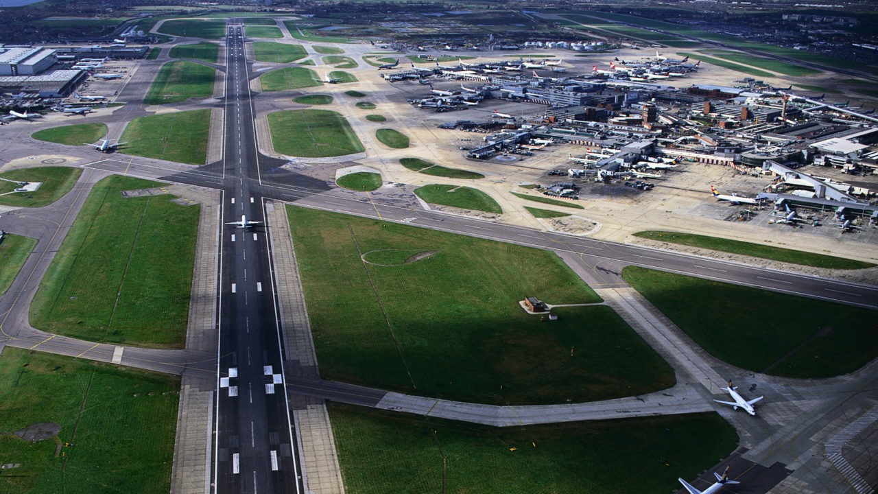 bird's eye view of Heathrow runway with planes on it