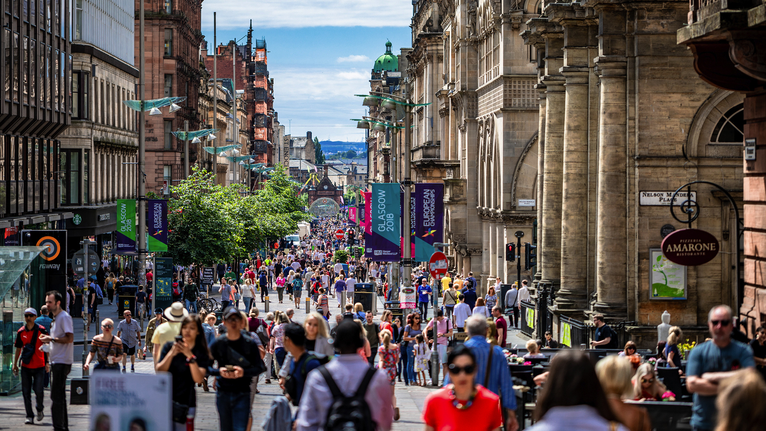 Glasgow high street with people on it