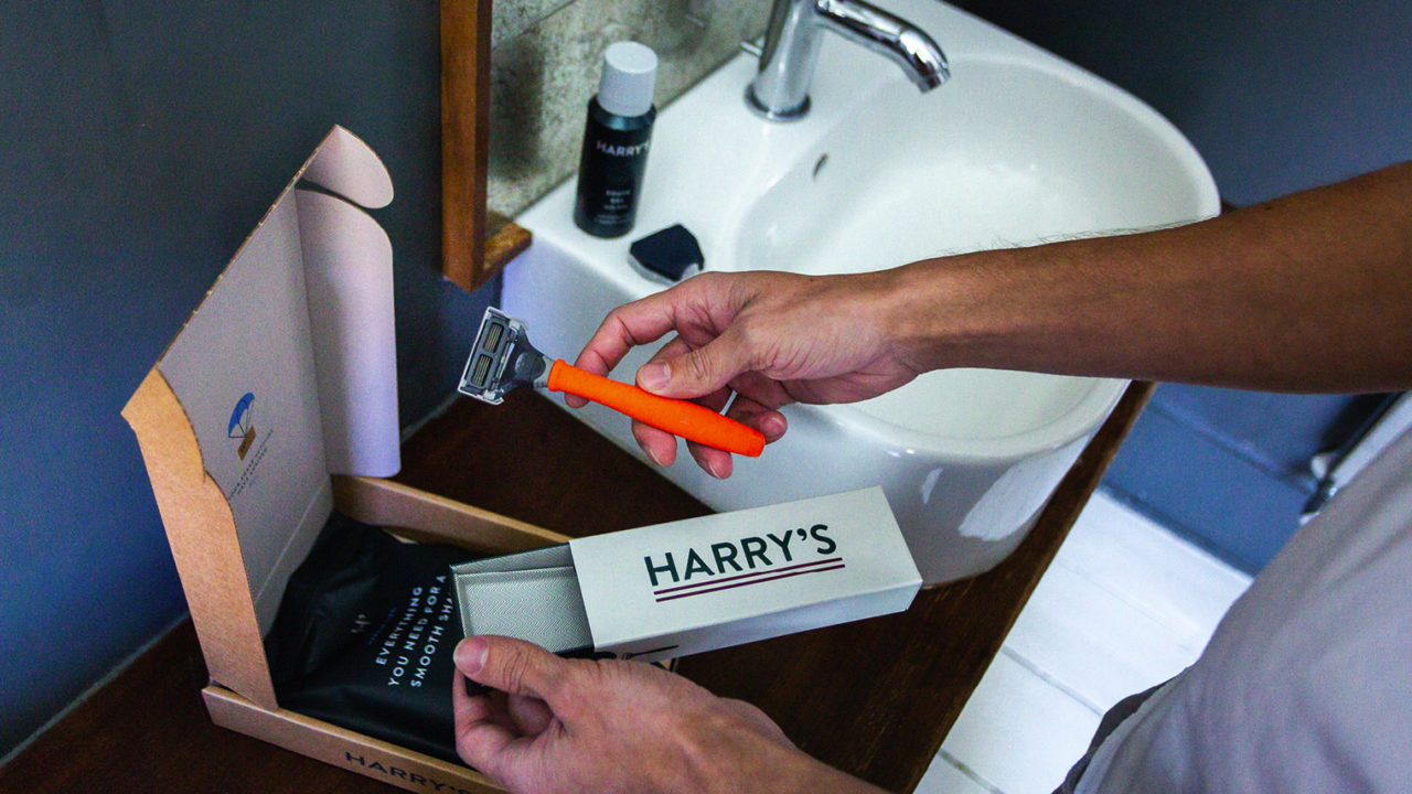 D2C subscription shaving box Harry's being opened