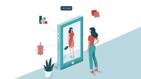 cartoon of woman looking in mirror illustrating omni-channel retailing
