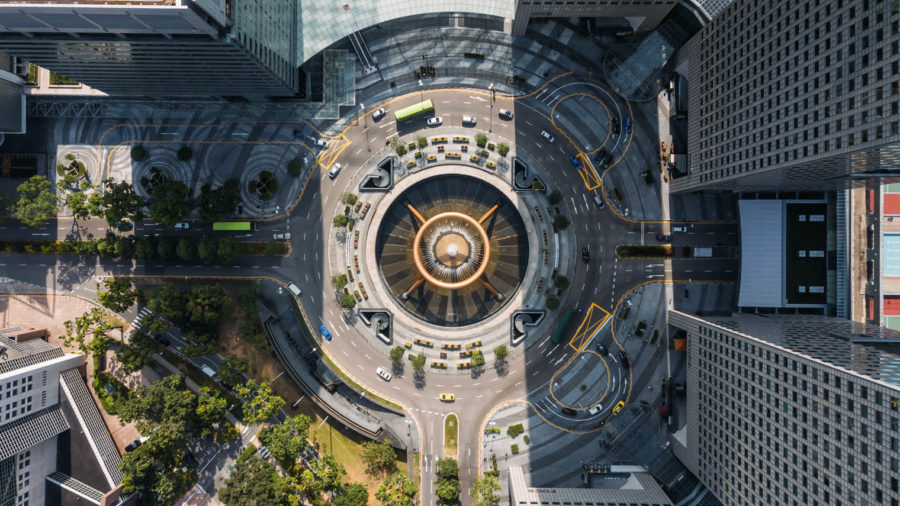 aerial view Fountain of wealth Singapore