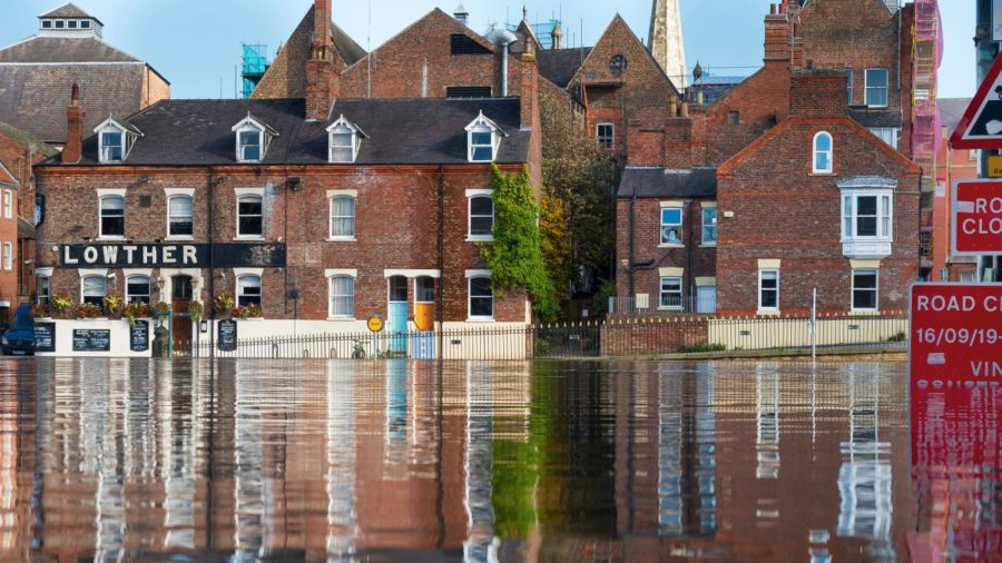 flooded streets in York
