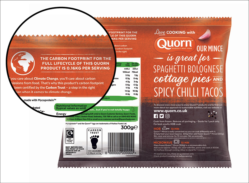 Quorn carbon label