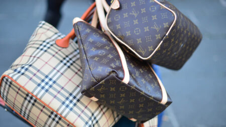 Picture of counterfeit luxury handbags by Burberry and Louis Vuitton