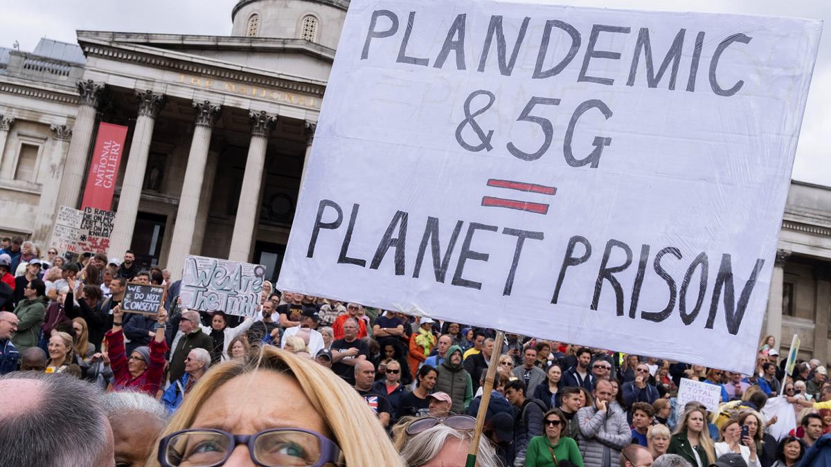 Anti-lockdown conspiracy theorists and coronavirus deniers protesting in Trafalgar Square in August