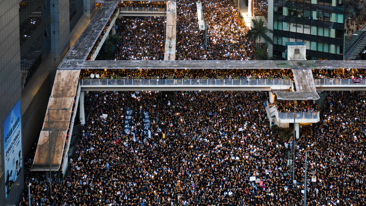 2 million people protesting in the streets of Hong Kong in June 2019
