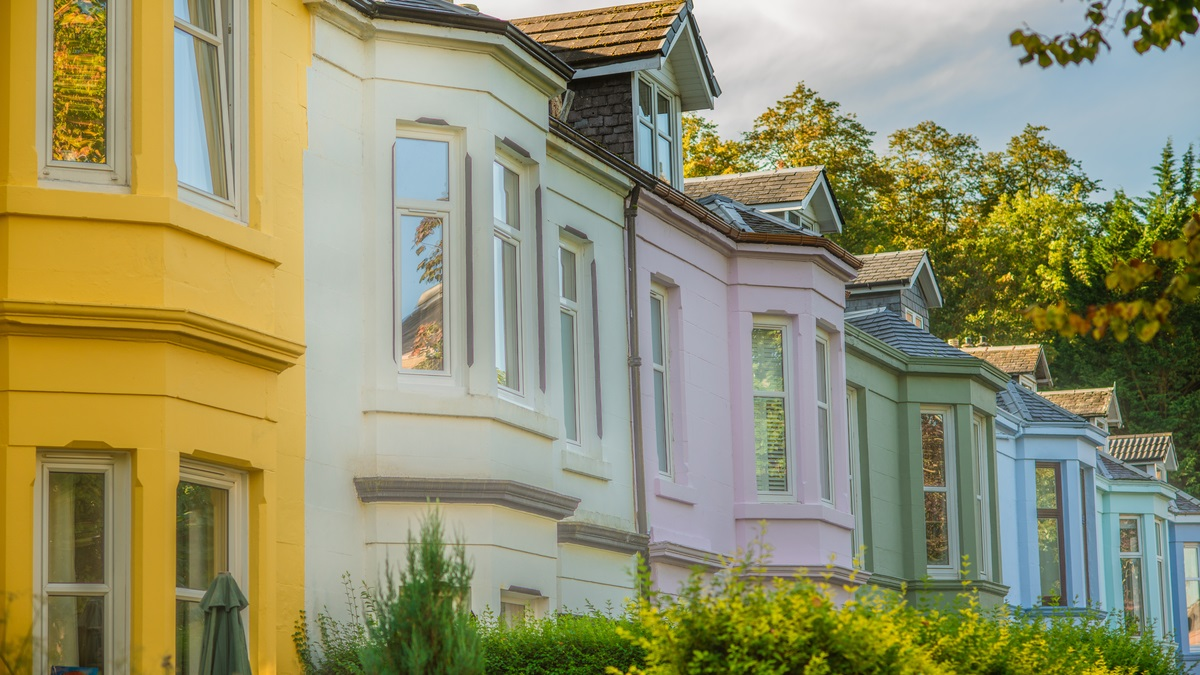 Row of colourful properties