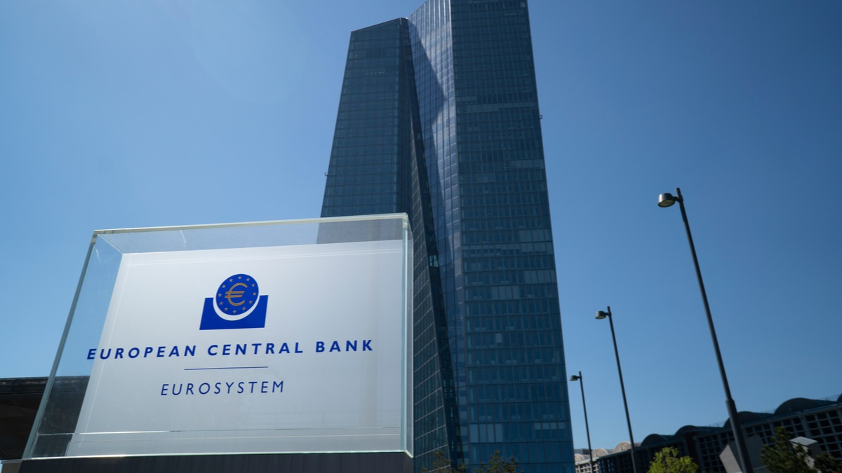 """Sign reading """"European Central bank"""" in front of a skyscraper"""