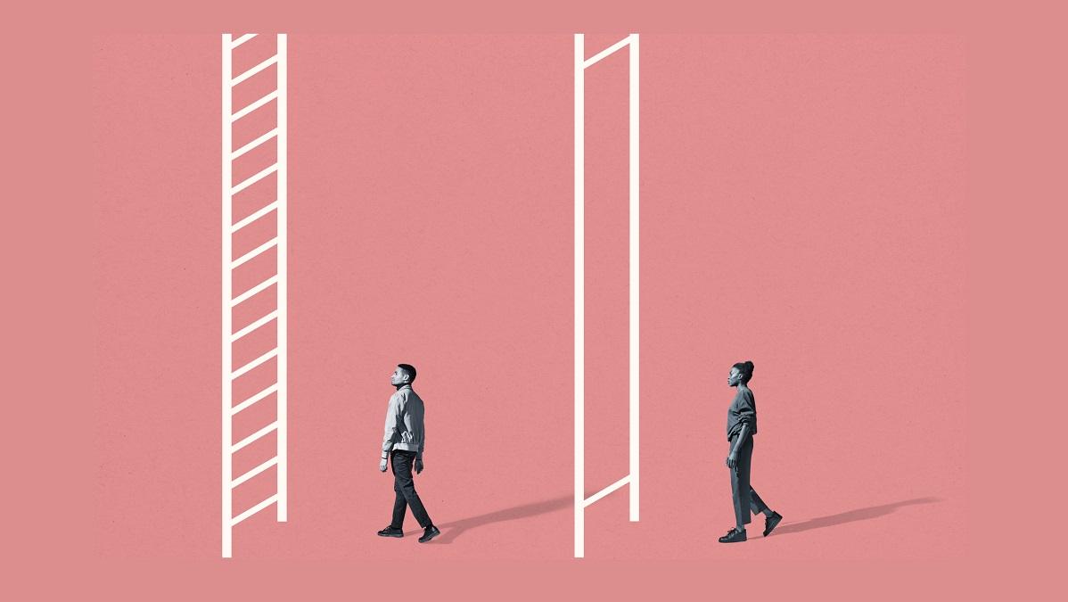 Man walking towards ladder with lots of rungs, woman walking towards ladder with two rungs very far apart
