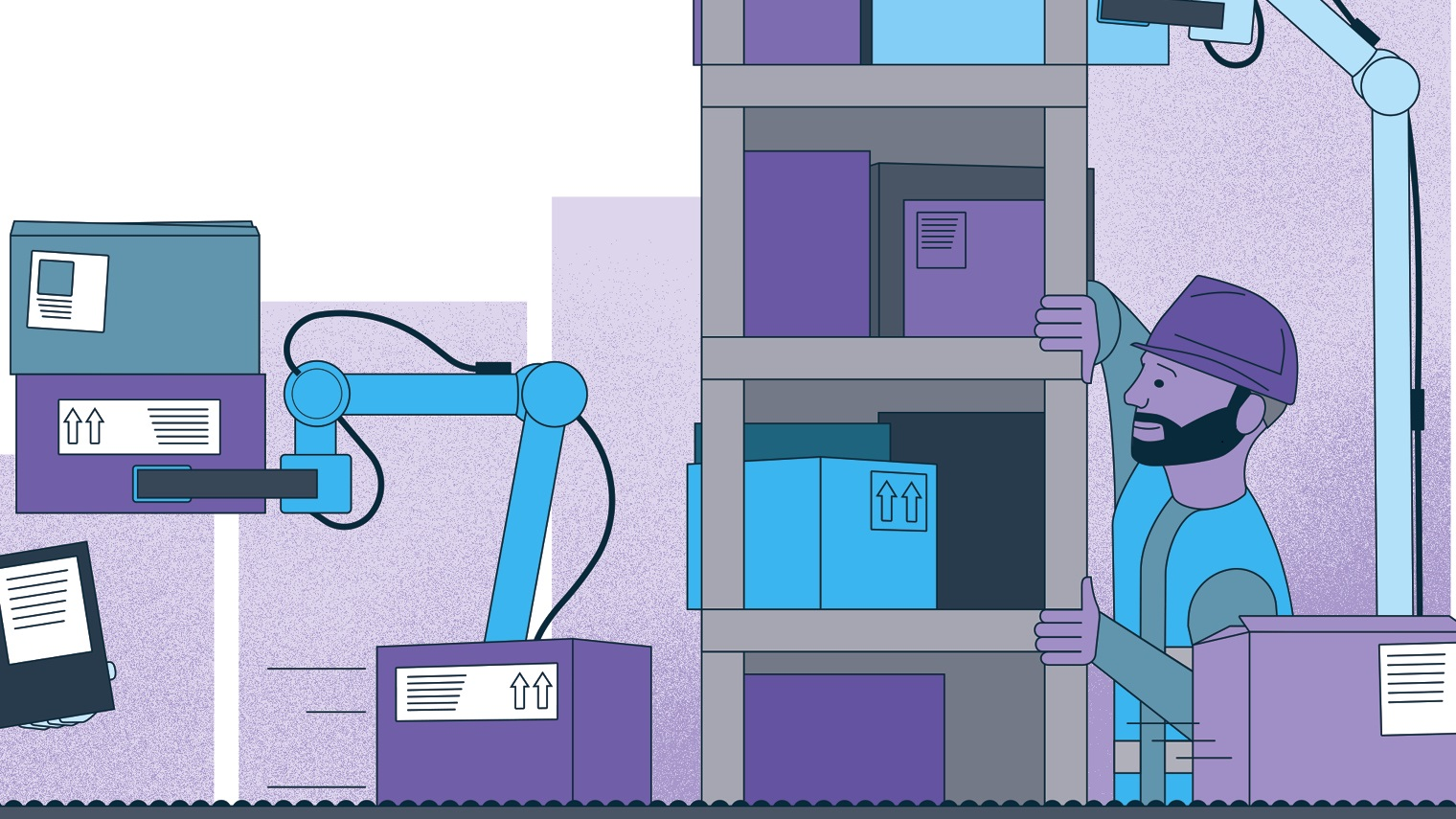 illustration of man in warehouse surrounded by robots