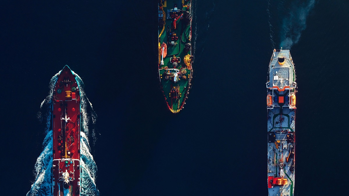 Cargo ships on the sea, seen from above