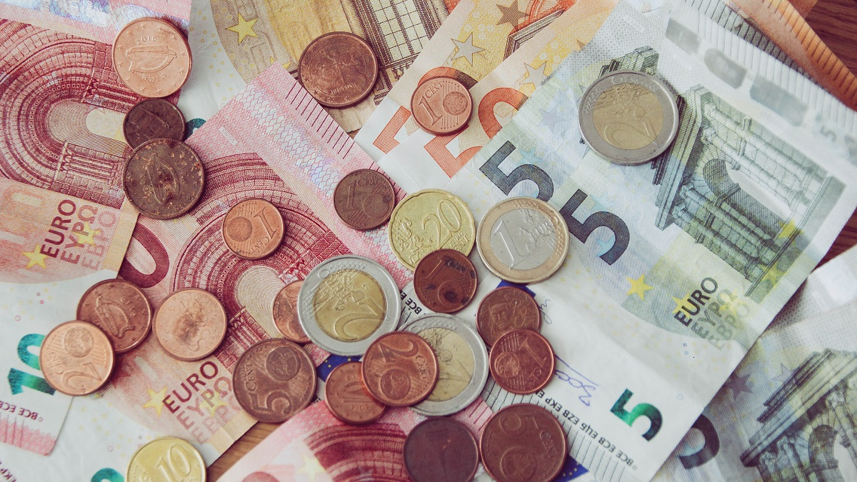 Euro currency, coins and notes, cash