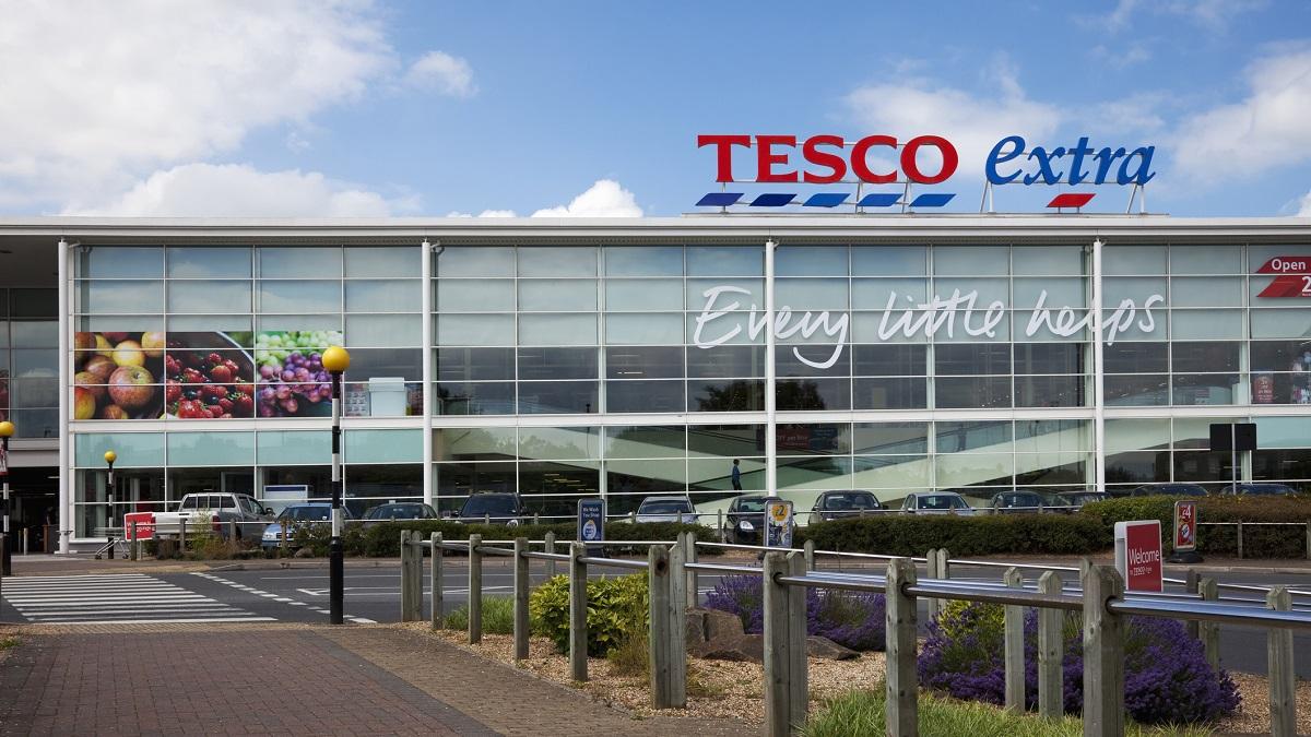 Tesco Supermarket, sign, logo and slogan