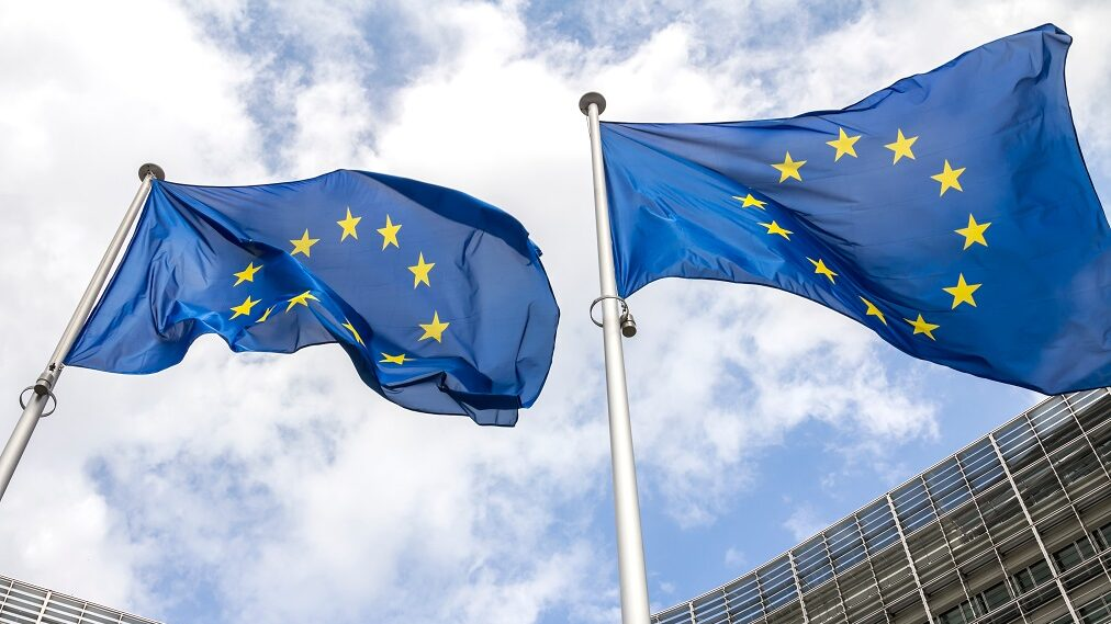European flags at European Parliament in Strasbourg