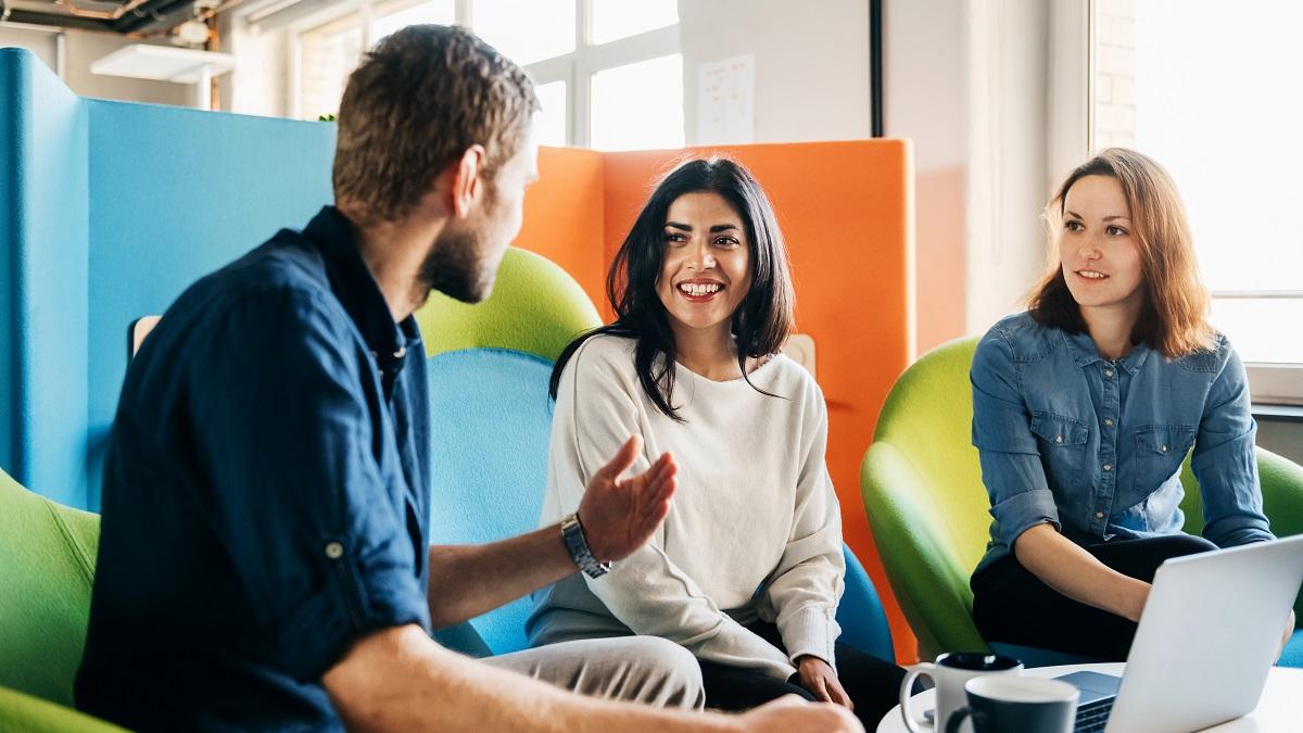 Meeting Between Three Team Leaders In Office