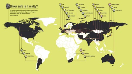 Infographic map looking at the risk of nuclear theft around the world